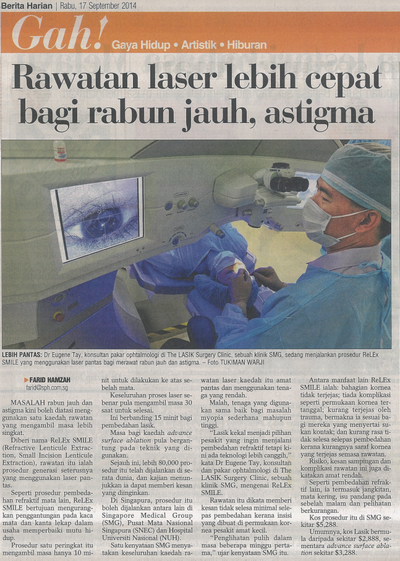 Berita Harian- Faster Laser Treatment For Short-sightedness and Astigmatism (17 Sept 2014)