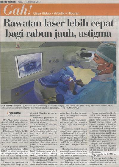 Berita Harian- Faster Laser Treatment For Short-sightedness and Astigmatism (17 Sept 2014)